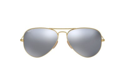 RB3025 AVIATOR FLASH LENSES Gold/Silver